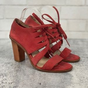Frye Sofia Lace Up Leather Heeled Sandals 9